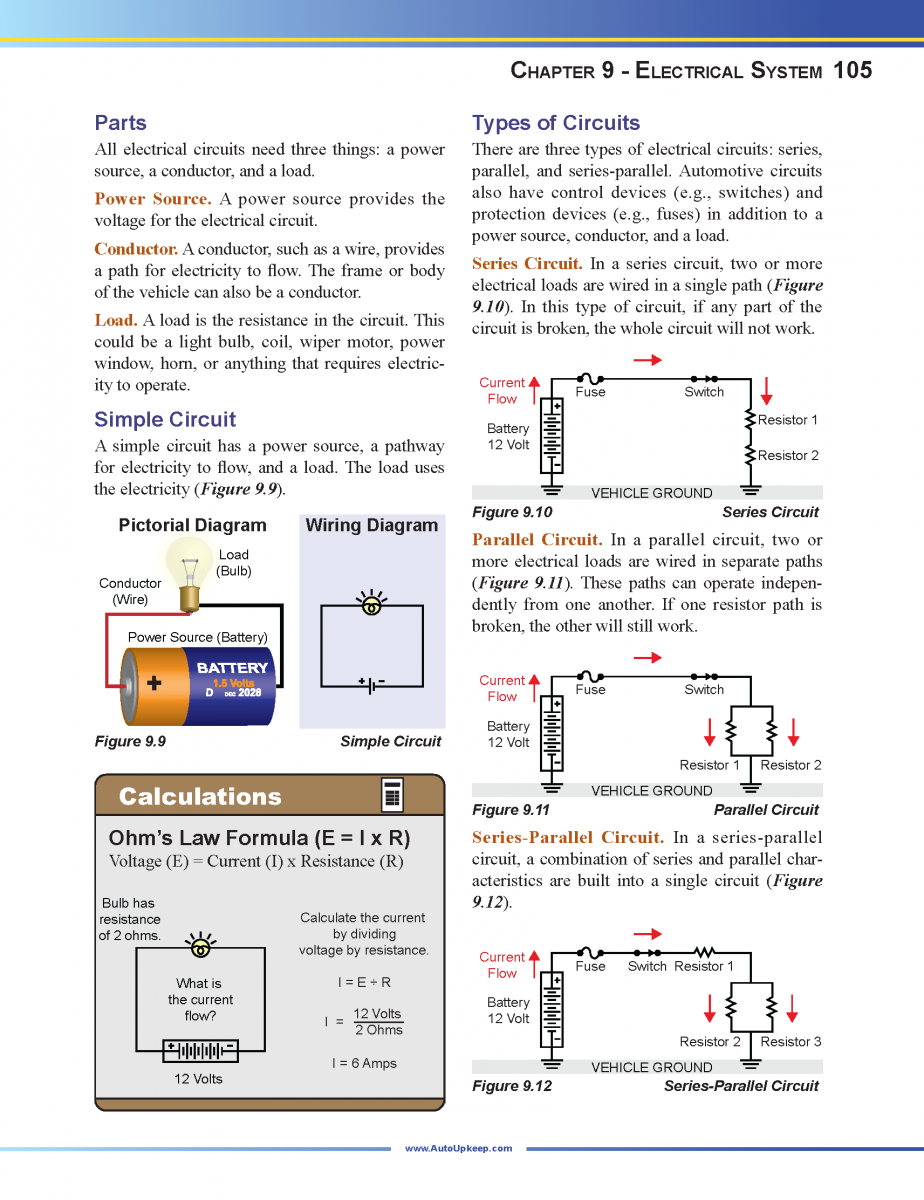 Auto Upkeep 4th Edition 2018 Textbook And Workbook Set Ohms Law In Series Circuits For Automotive Troubleshooting Page 105