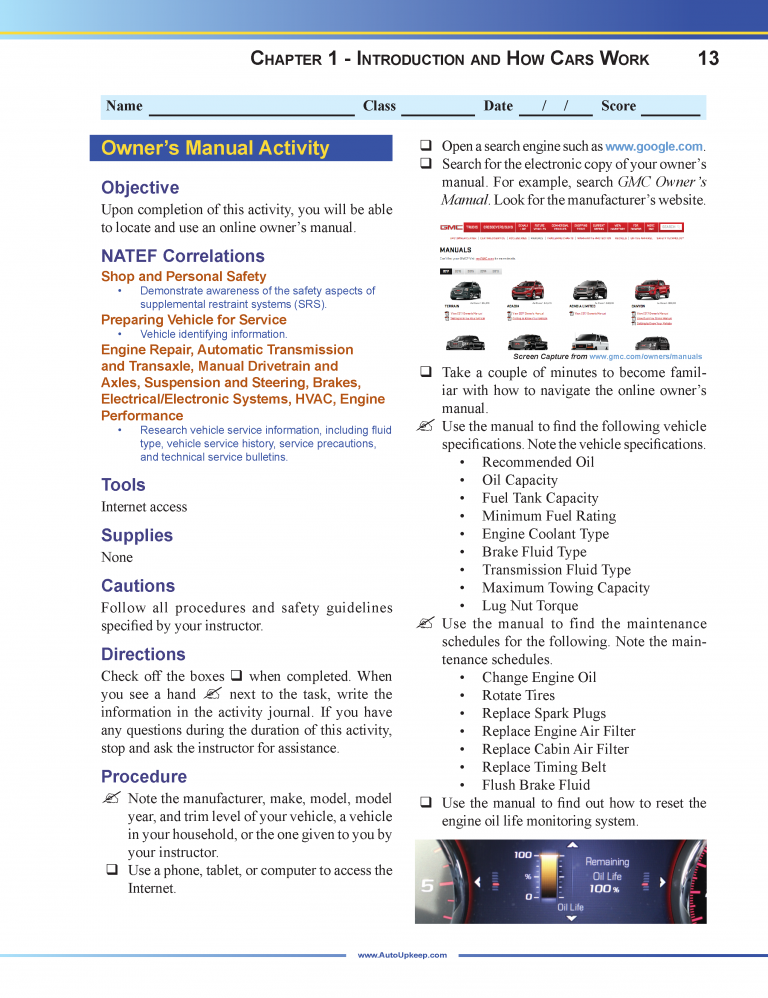 Auto Upkeep Workbook Page 13