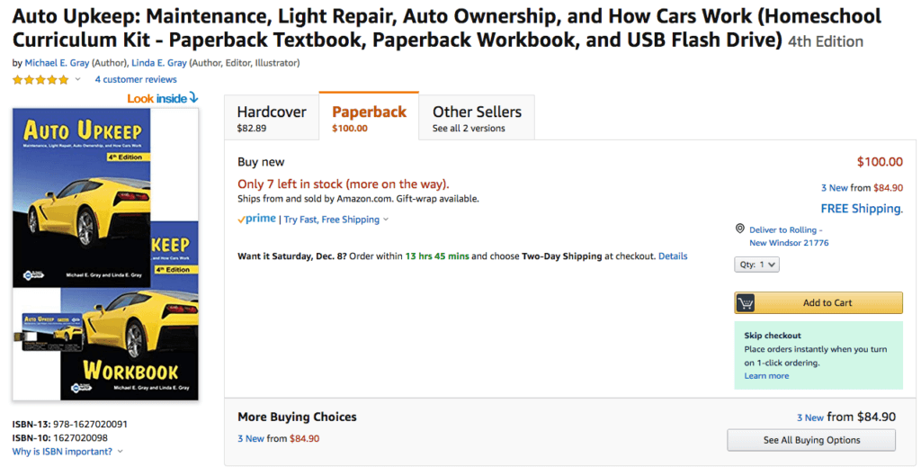 Auto Upkeep Homeschool Kit Amazon